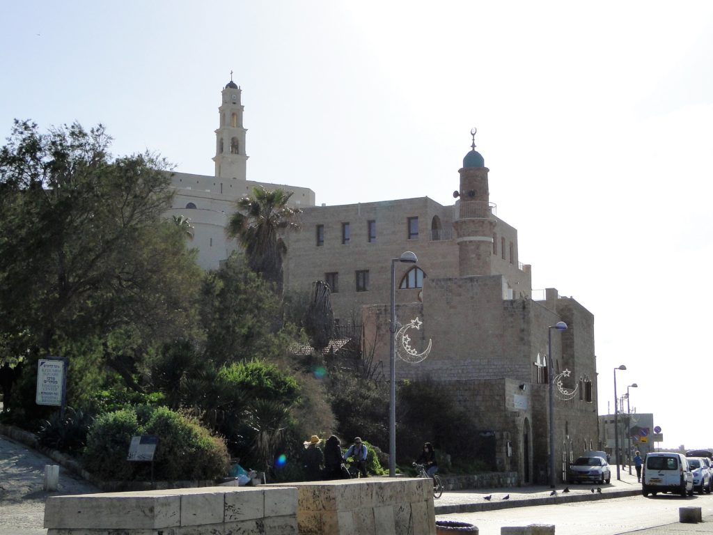 Saint Peter's Church bell tower and the minaret of Al-Bahr Mosque - Jaffa, Israel