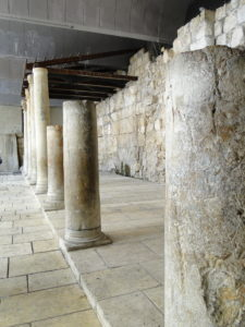 Excavated original pillars that collonated the Byzantine Cardo - Jewish Quarter in the Old City of Jerusalem, Israel