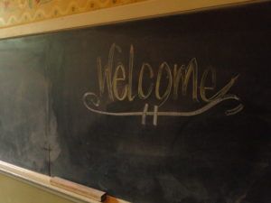 Blackboard in one guestrooms at the historic hotel McMenamins Kennedy School - Portland, Oregon