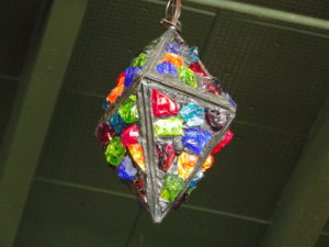 Colorful light fixture at the Courtyard Restaurant at the McMenamins Kennedy School, Portland - Oregon