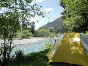 Camping site by the Hoh River - Hoh National Forest in the Olympic National Park, State of Washington