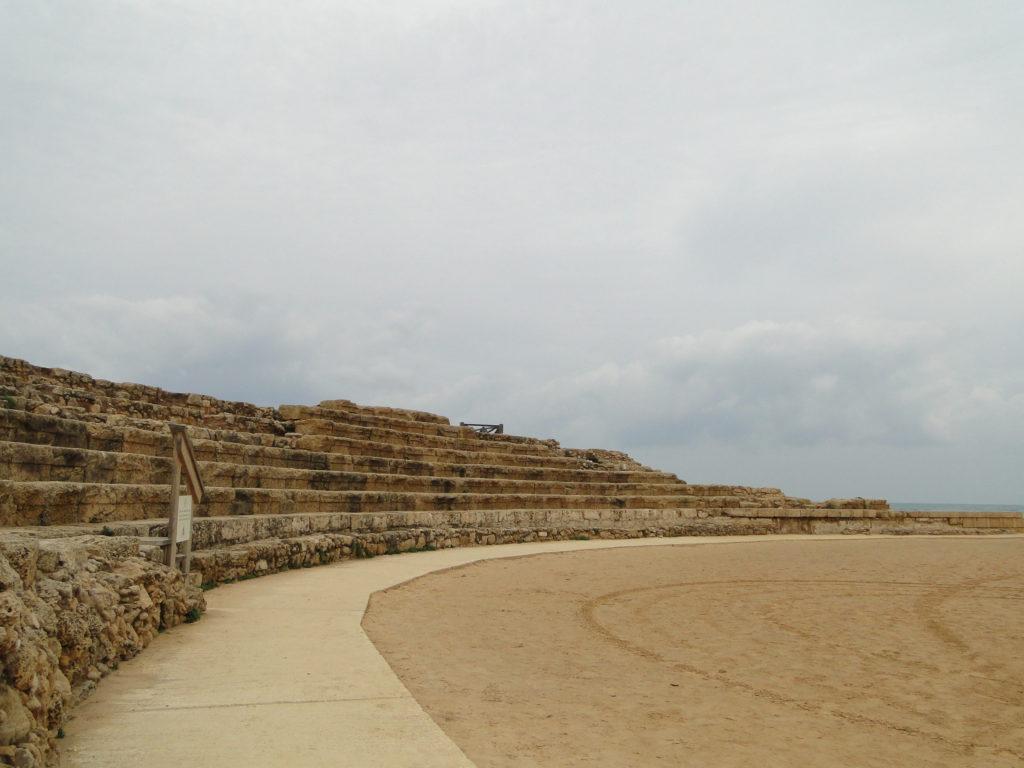 Ruins of Roman hippodrome excavated in Caesarea, Israel
