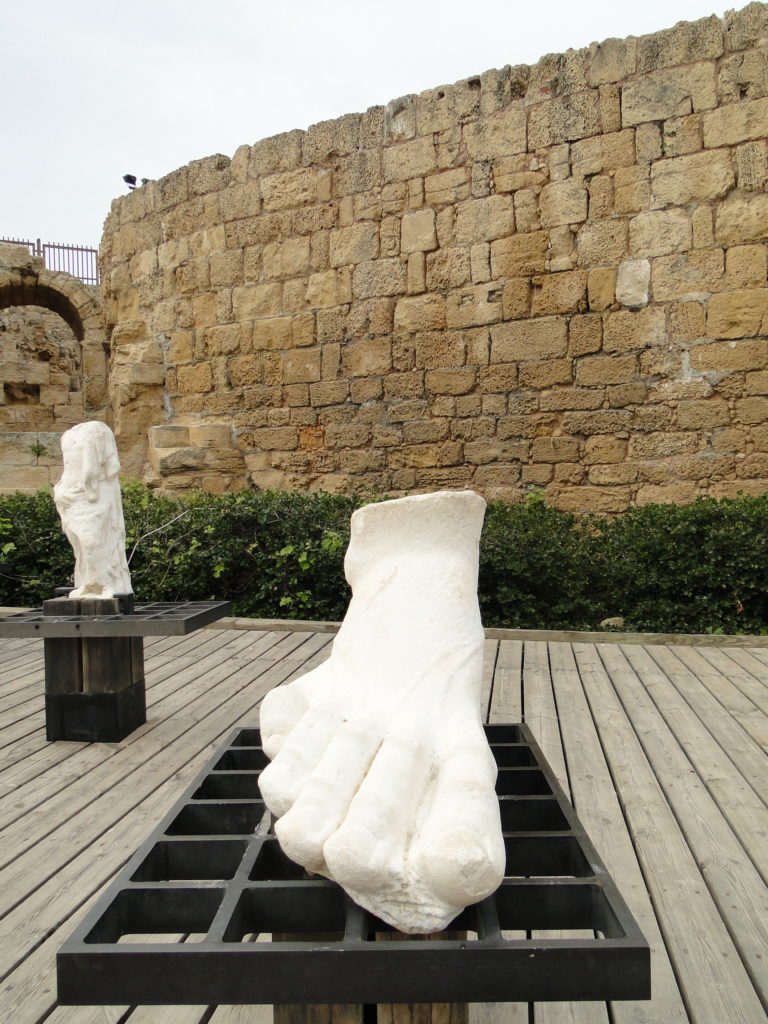 Ruins of gigantic foot of statue in Caesarea, Israel
