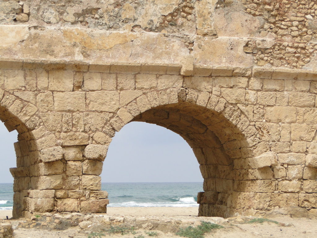 Ruins of Roman Aqueduct arch - Caesarea, Israel