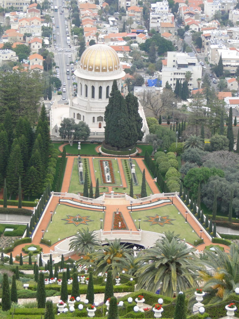 View of the Baha'i Gardens from the top of the staircase overlooking the golden-domed Shrine of Bab - Haifa, Israel