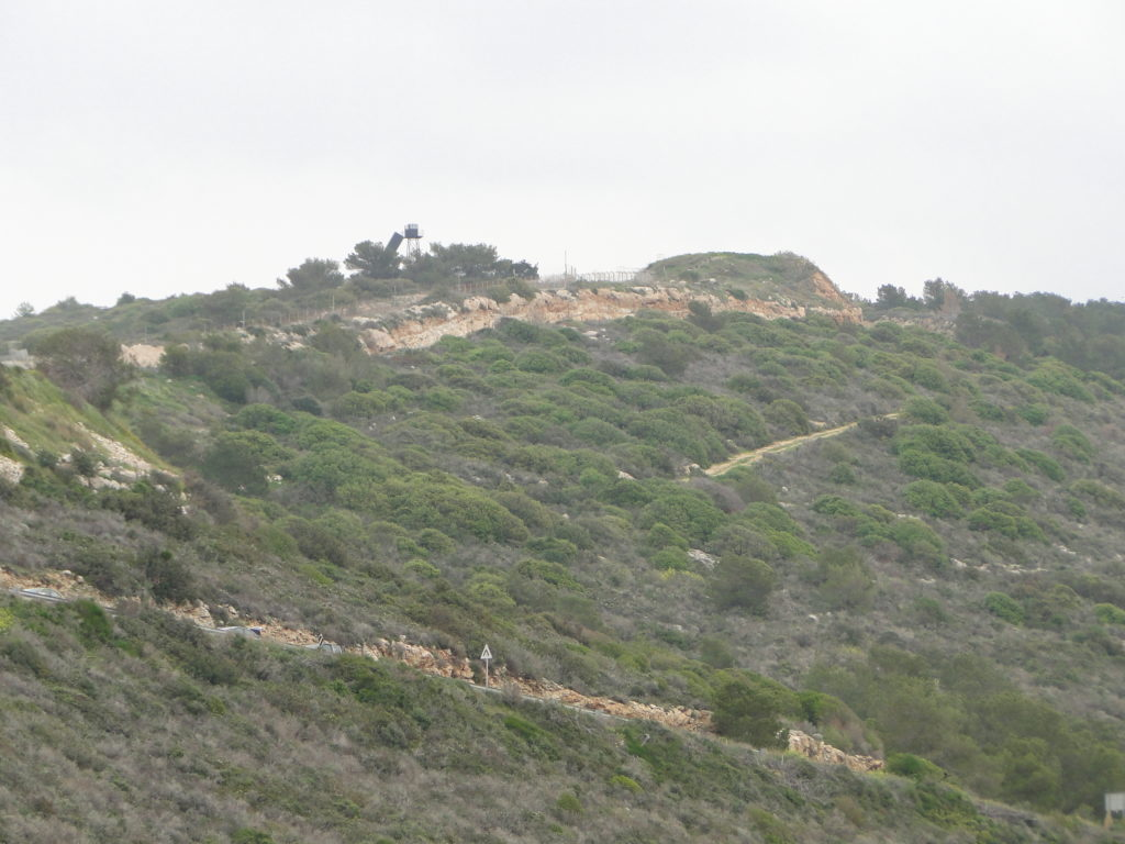 Road on the hill at the Israeli-Lebanese border in the Blue Line zone at Rosh HaNikra, Israel