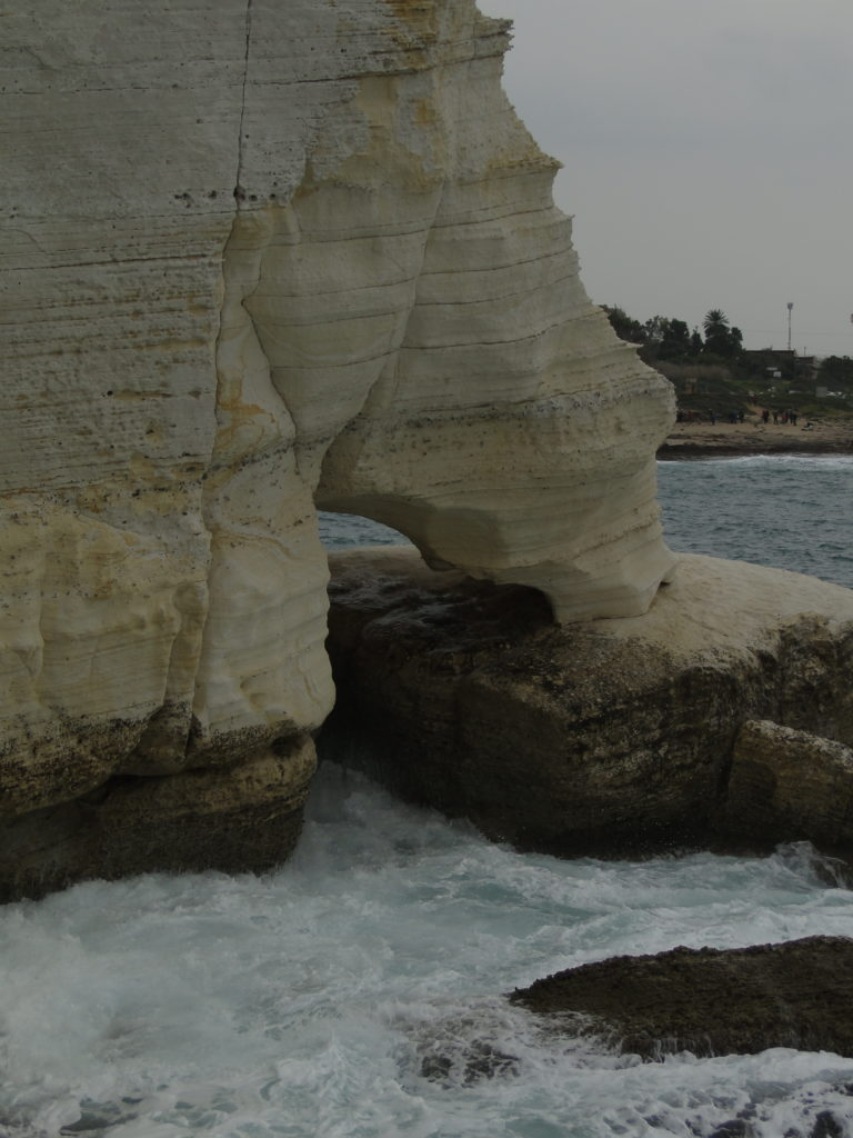 Chalk rocks sculpted by the sea in Rosh HaNikra, Israel