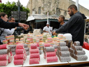 Sweets at a stand on the street in Old Acre, Israel