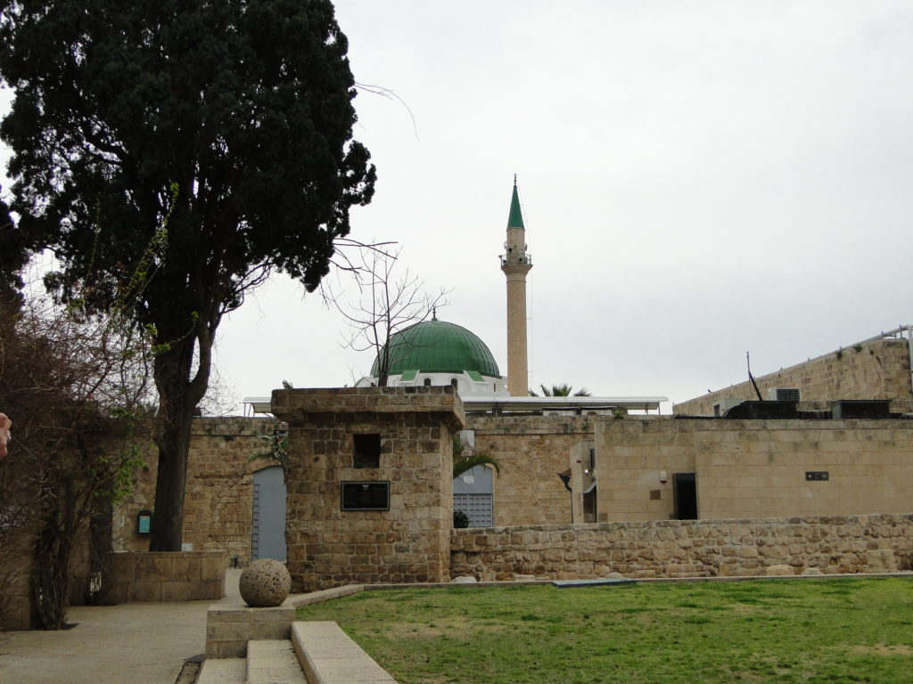 Al-Jazzar Mosque's green dome and minaret in Akko (Old Acre), Israel