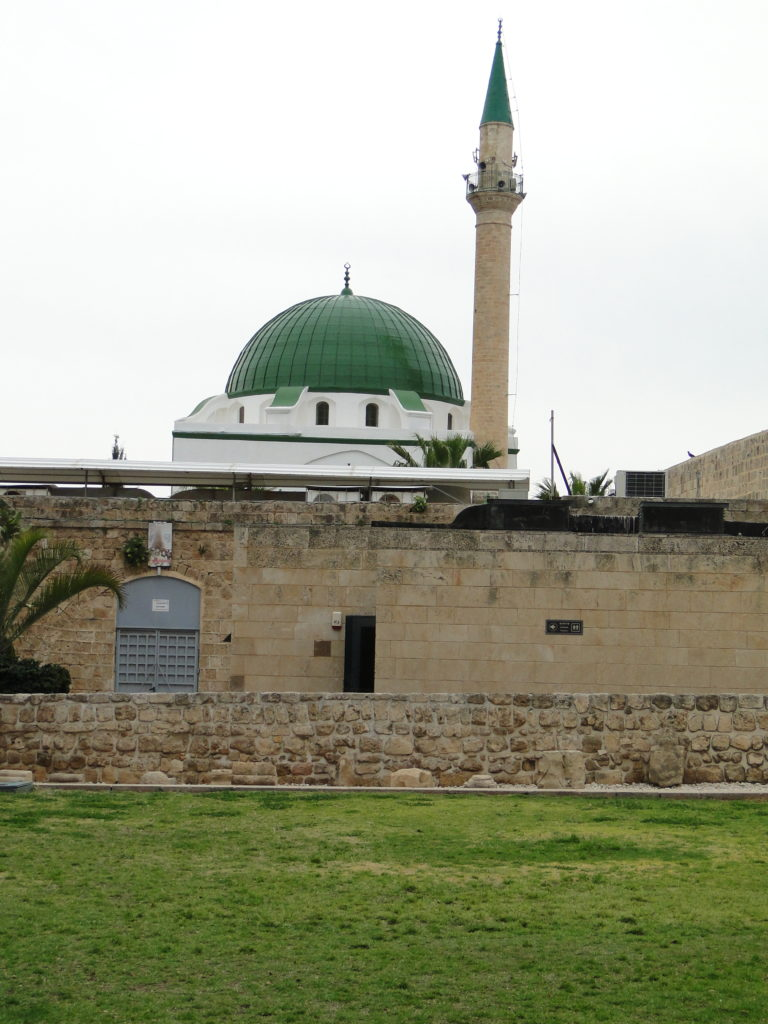 View of the El-Jazzar Mosque's dome and minaret in Old Acre (Akko), Israel