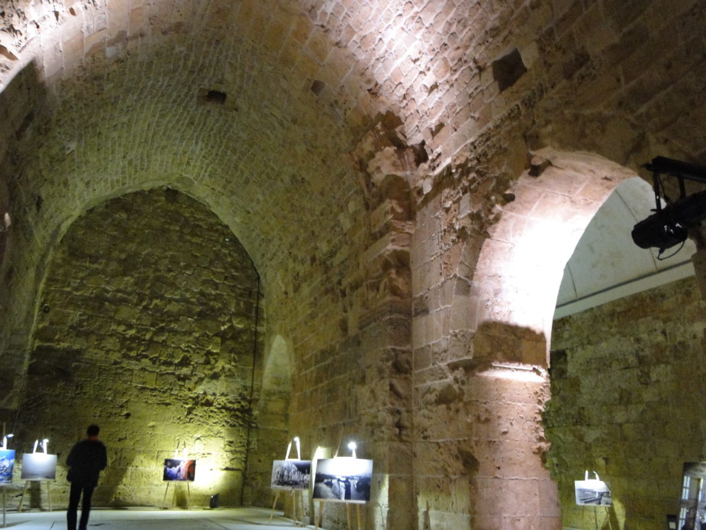 Arches in the central courtyard of the Knights' Hall in Old Acre (Akko), Israel