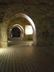 Central courtyard in the Knights' Hall at the Citadel in Old Acre (Akko), Israel