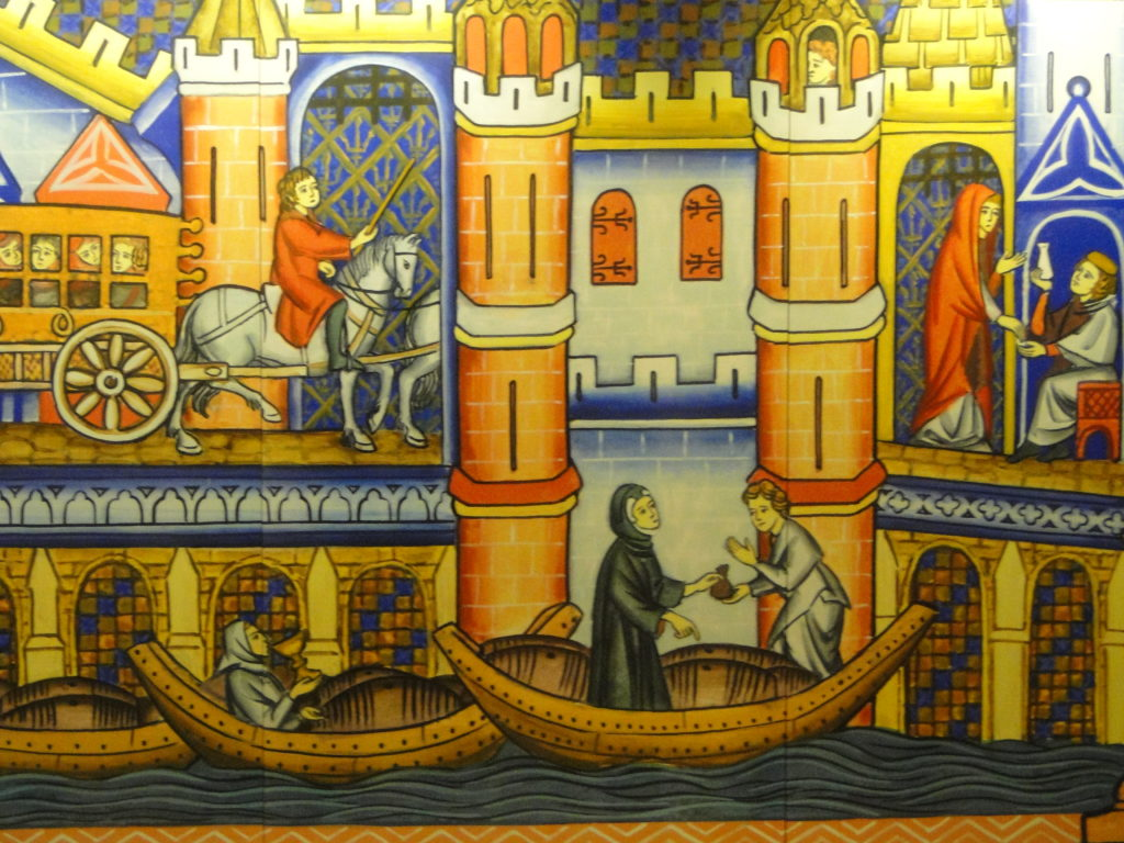 Crusaders mural in the Knights' Hall in Old Acre (Akko), Israel