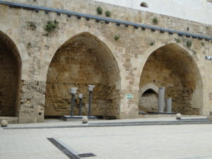 Prison courtyard at the Knights' Hall or Citadel in Old Acre (Akko), Israel