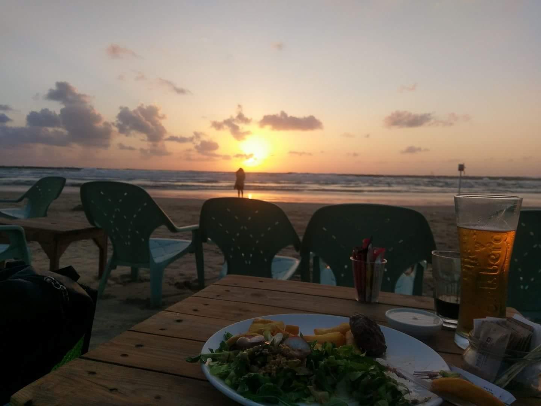 Sunset in Tel Aviv at the beach