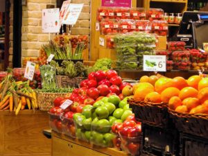 Fresh fruits and produce in one of Sarona Market's 91 stalls, shops, and restaurants of all categories. With over 93,600 square feet, Sarona is the largest indoor market in Tel Aviv, Israel
