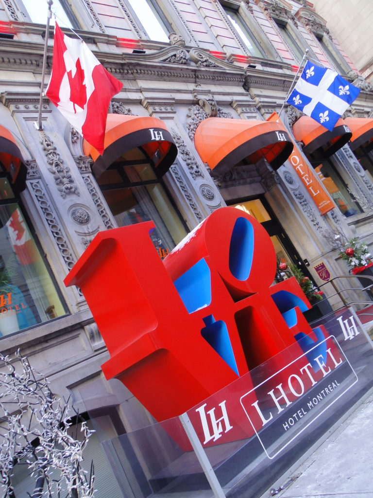 The Love sculpture by Robert Indiana at the entrance of LHotel, Montreal