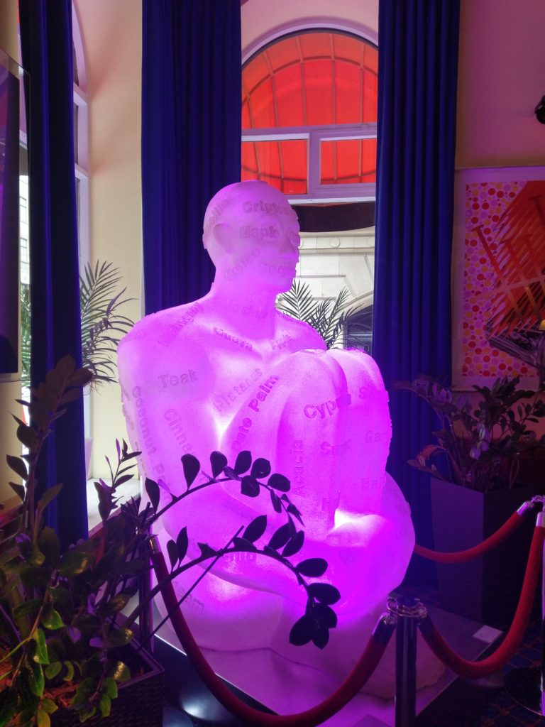 Jaume Plensa's white resin glowing figure - LHotel Montreal