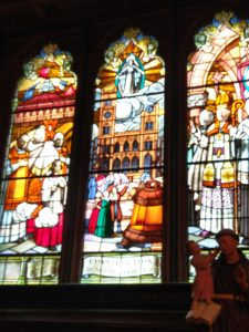 Glass window at the Basilica of Notre Dame of Montreal, Quebec