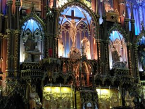 Main altar at the Basilica Notre Dame of Montreal, Quebec