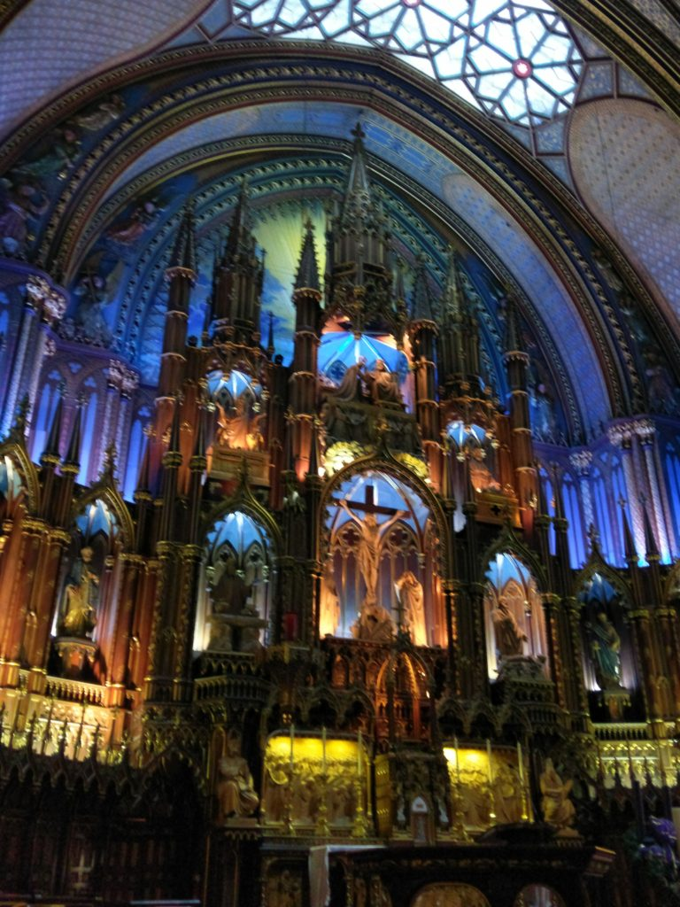 Main altar at the Basilica Notre Dame de Montreal, Quebec - Canada