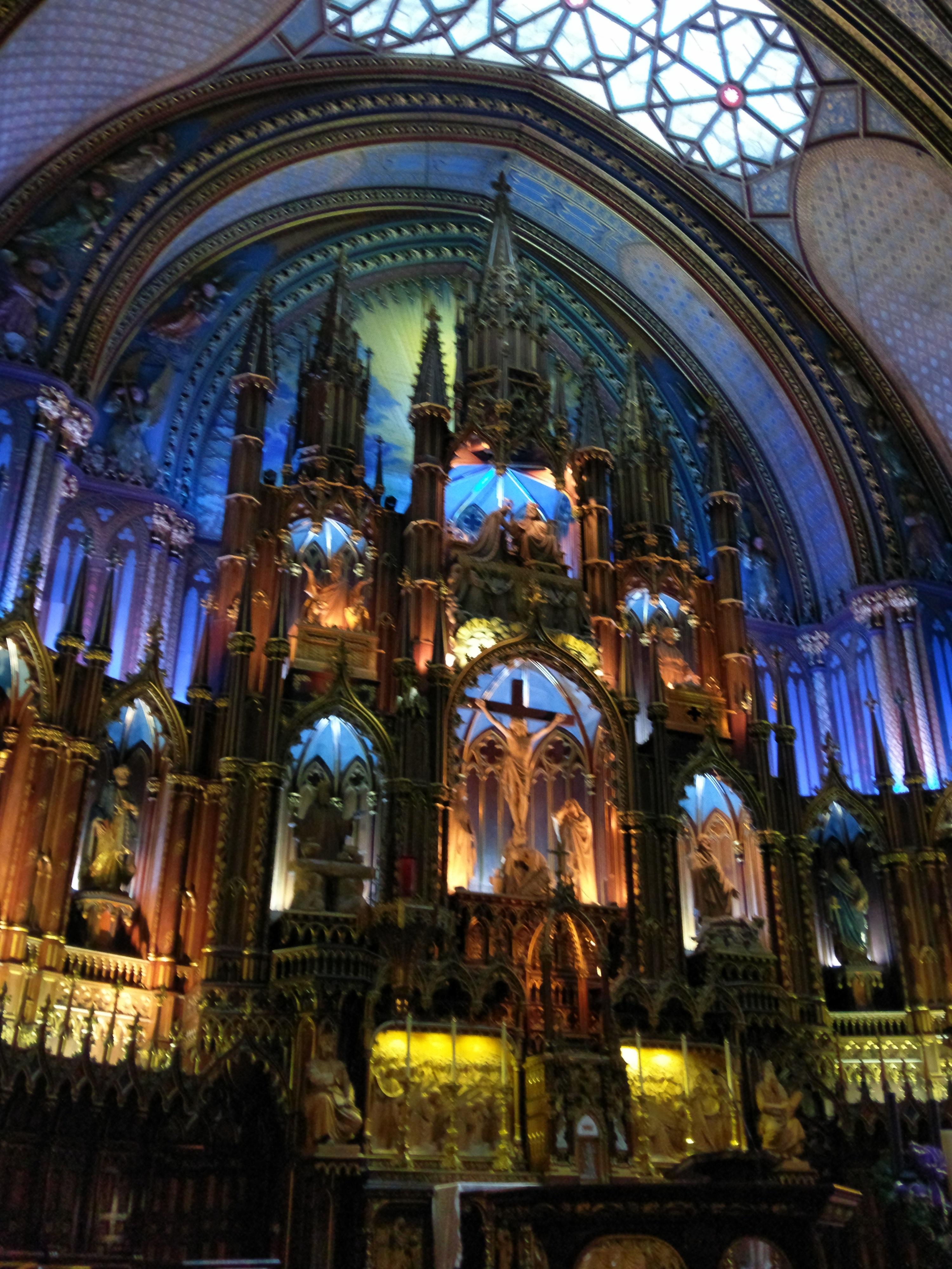 Main altar at the Basilica Notre Dame de Montreal, Quebec - Canada
