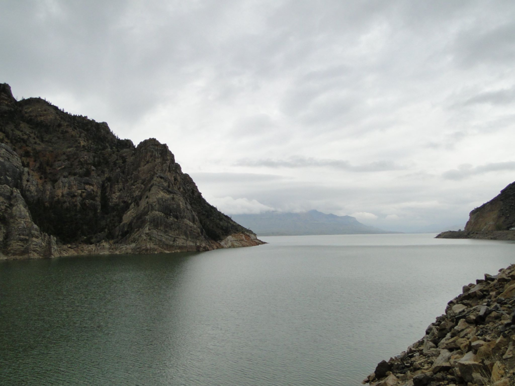 Buffalo Bill Dam reservoir in the Shoshone River - Cody, Wyoming